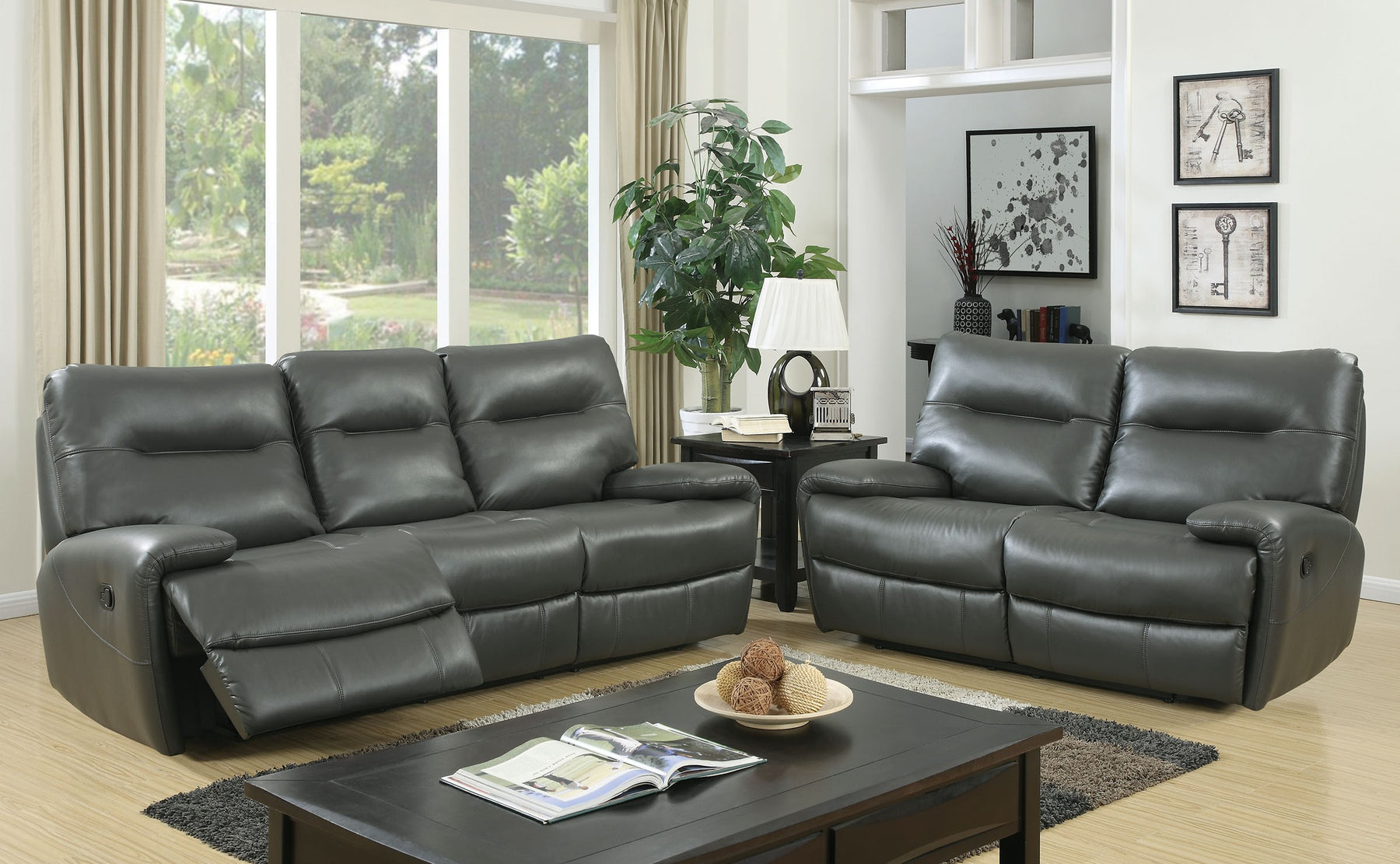Binford Breathable Leatherette Gray Transitional Sofa