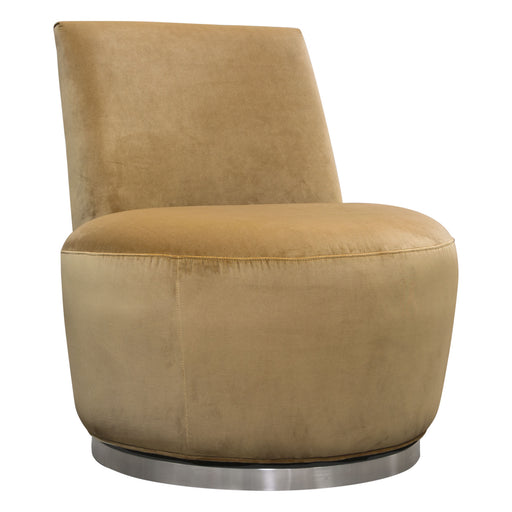 Blake Swivel Accent Chair In Marigold Velvet Fabric With Polished Stainless Steel Base