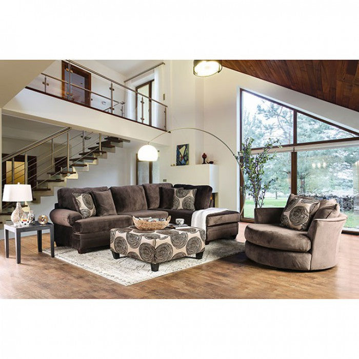 Bonaventura Brown Transitional Rolled Arms Sectional