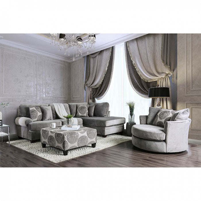 Bonaventura Gray Transitional Rolled Arms Sectional
