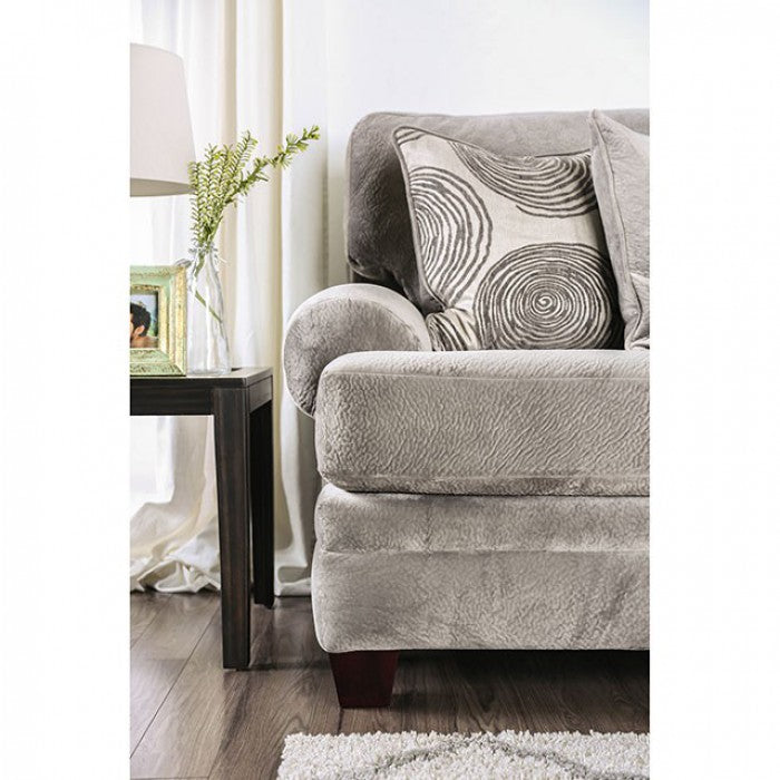 Bonaventura Solid Wood Frame Gray/Pattern Transitional Sofa
