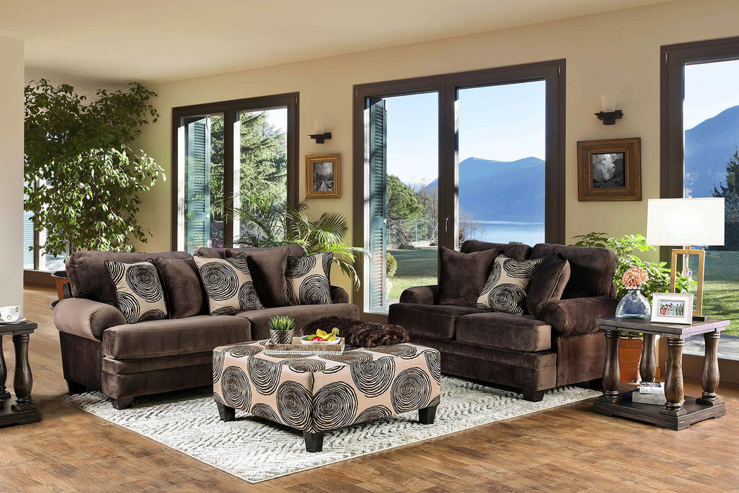 Bonaventura Solid Wood Frame Brown Transitional Sofa