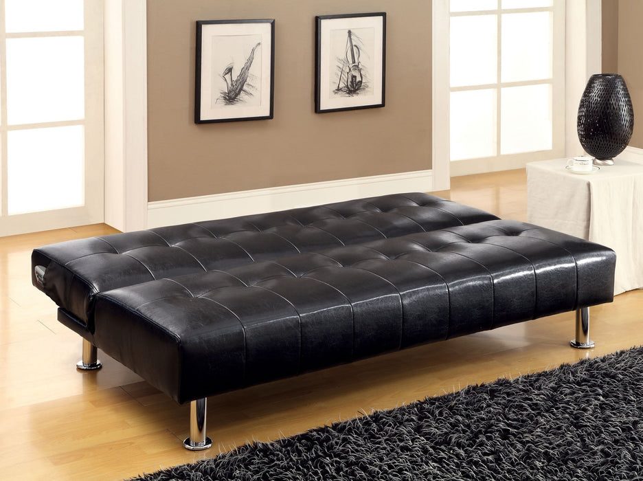Bulle Leatherette Folding Legs Black Futon Sofa