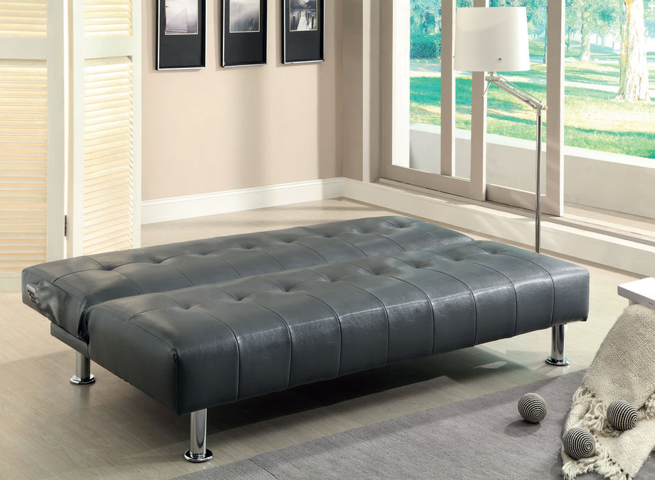 Bulle Leatherette Folding Legs Gray Futon Sofa