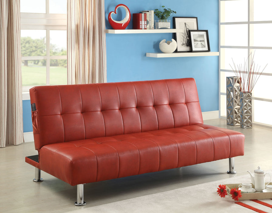 Bulle Leatherette Folding Legs Red Futon Sofa