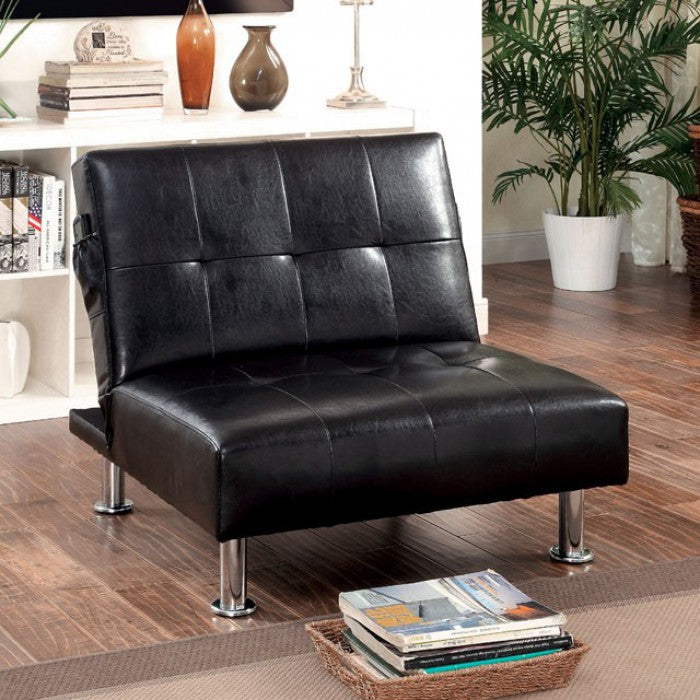 Bulle Leatherette Folding Legs Side Pockets Black Chair
