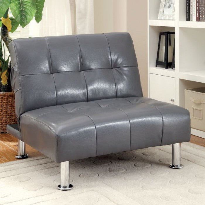 Bulle Leatherette Folding Legs Side Pockets Gray Chair
