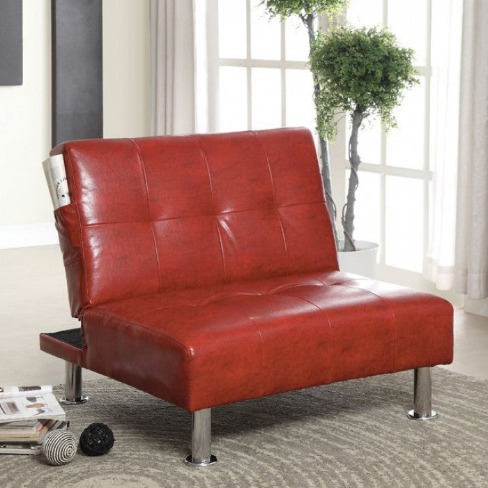 Bulle Leatherette Folding Legs Side Pockets Red Chair