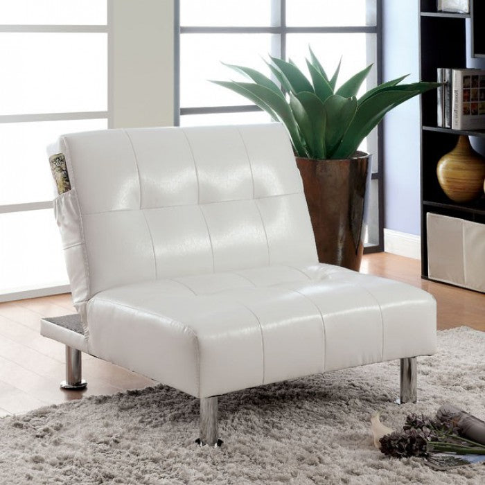 Bulle Leatherette Folding Legs Side Pockets White Chair