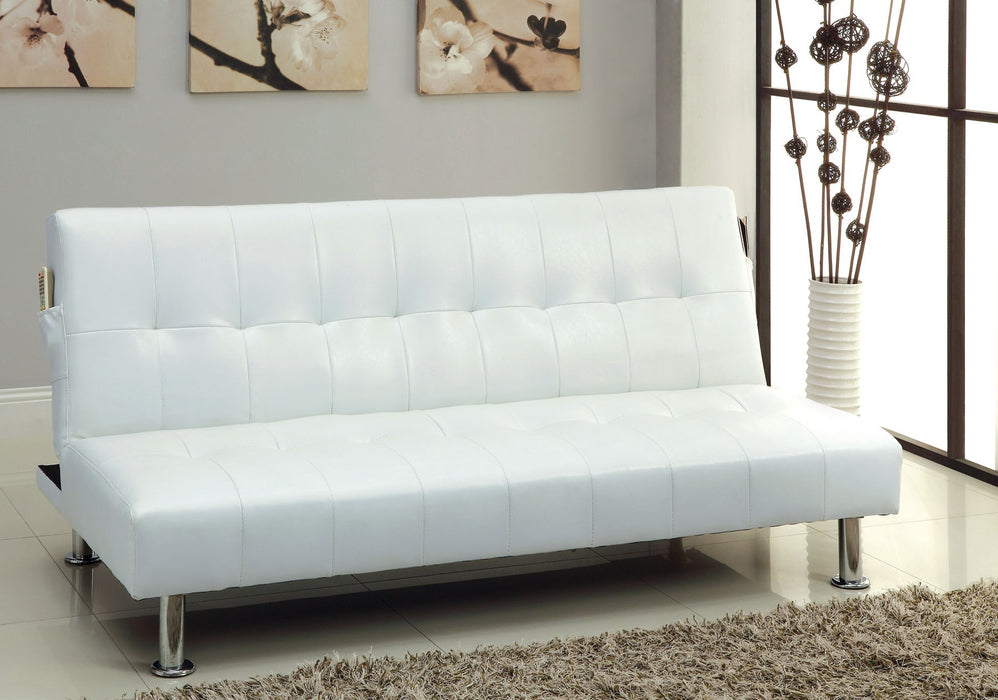 Bulle Leatherette Folding Legs White Futon Sofa