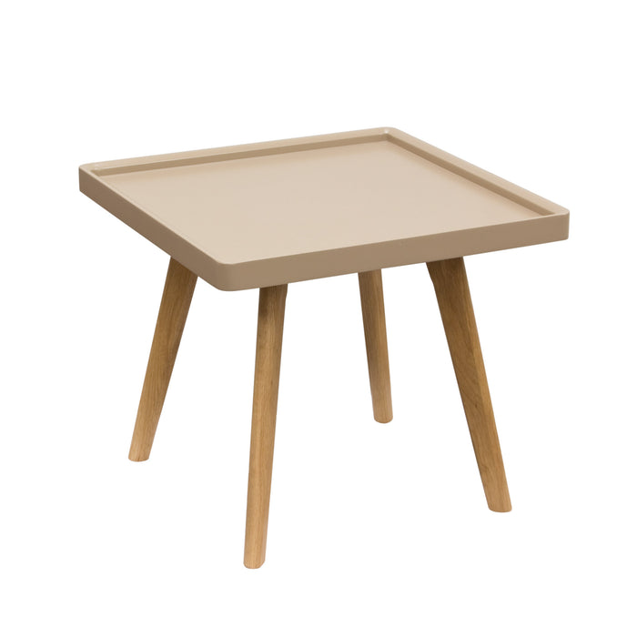 Cafe Square End Table with Taupe Top and Oak Legs - Taupe/Oak