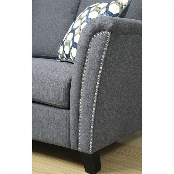 Campbell Fabric Gray Contemporary Sofa