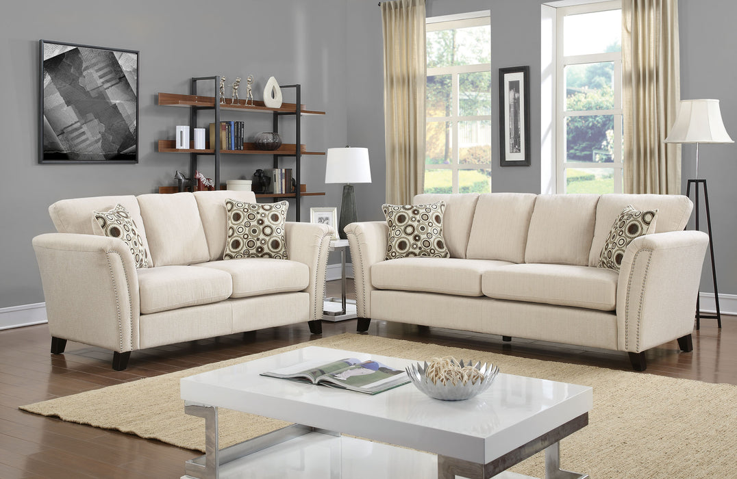 Campbell Fabric Ivory Contemporary Sofa