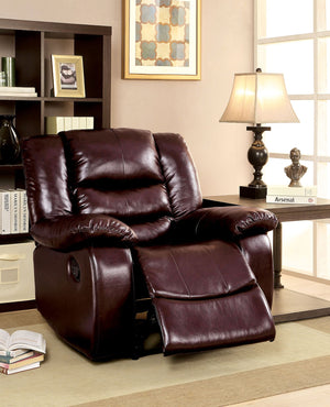Campton Leatherette Brown Transitional Recliner