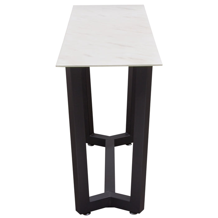 Caplan Rectangular Console Table with Ceramic Marble Glass Top and Black Powder Coat Base - Black/White