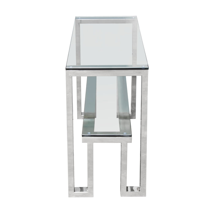 Carlsbad Console Table with Clear Glass Top and Shelf with Stainless Steel Frame - Stainless Steel