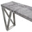 Carrera Counter Height Table in 3D Faux Concrete Finish with Brushed Stainless Steel Legs - White/Silver