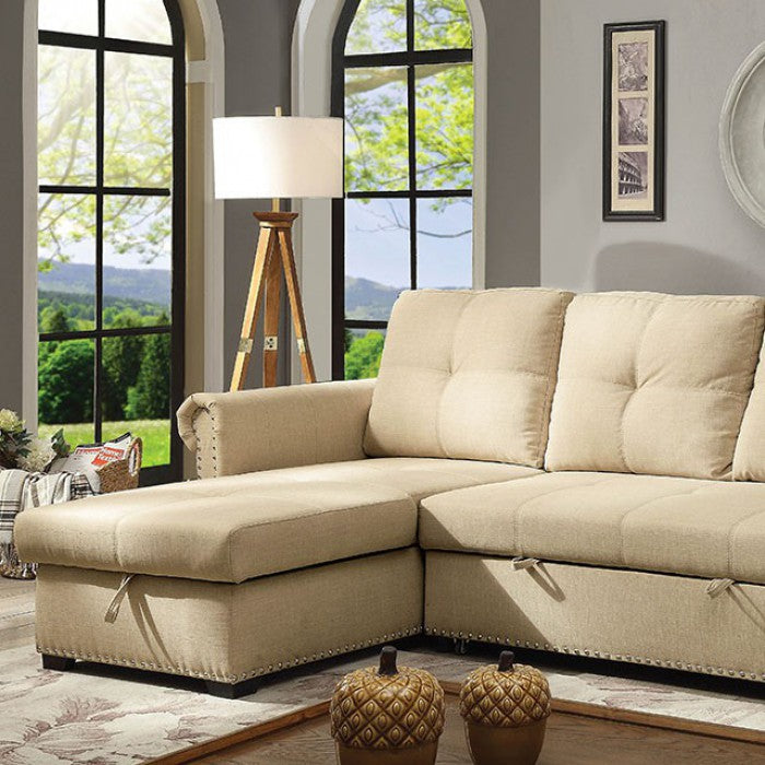 Carter Beige Transitional Sleeper Sofa Rolled Arms Sectional
