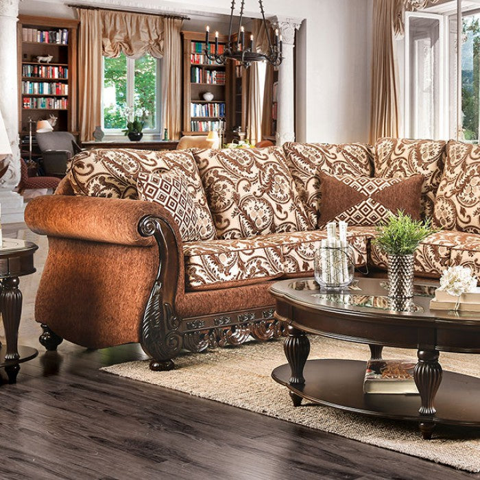 Cassandra Brown Chenille Traditional Style Sectional