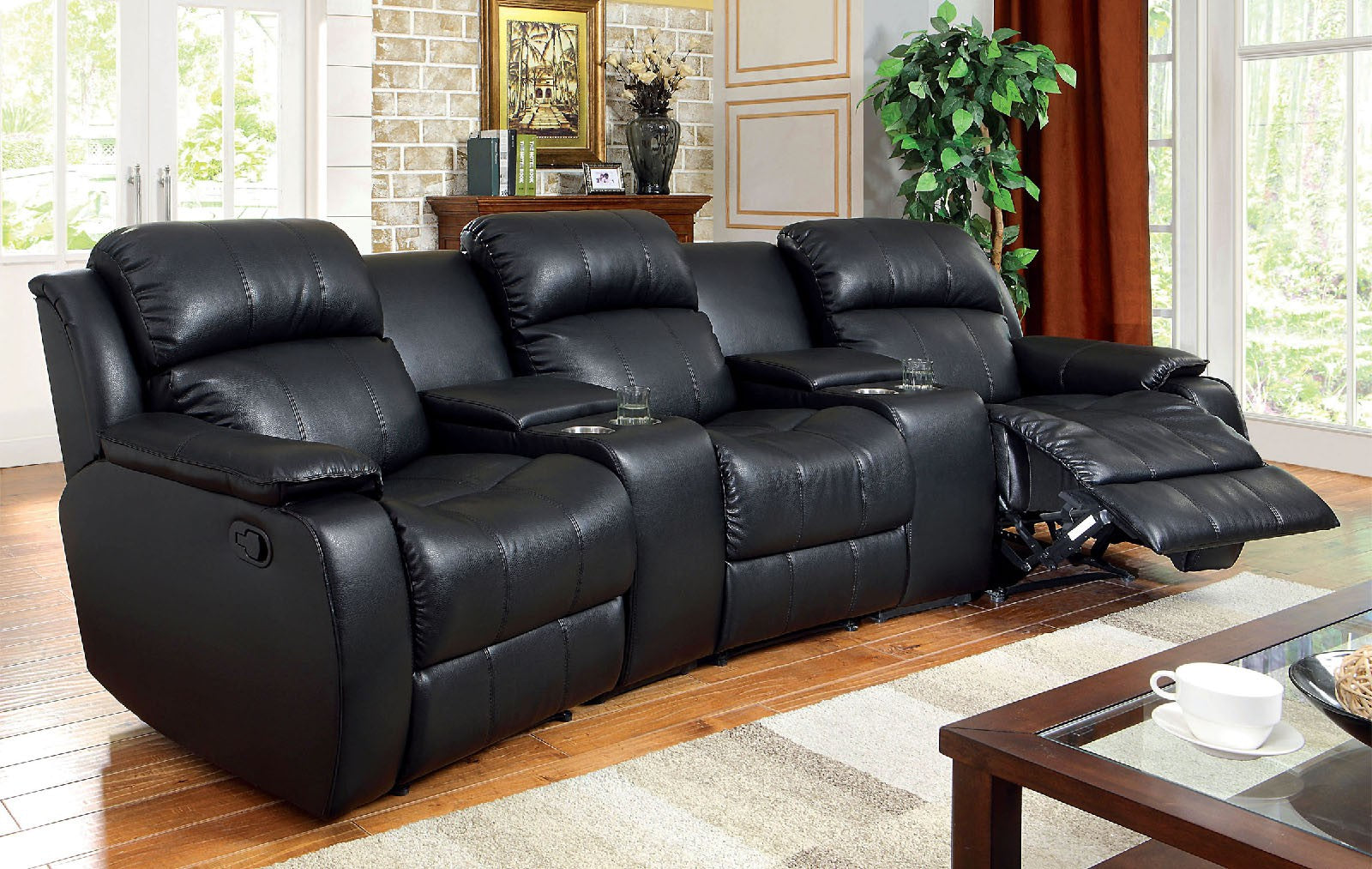 Castlegar Black Transitional 3 Recliners Leather Sectional