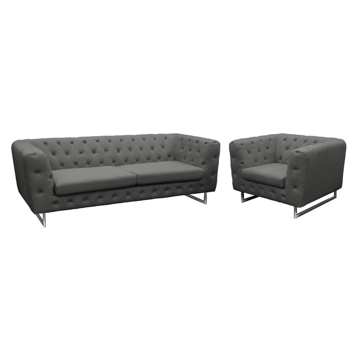 Catalina Tufted Sofa and Chair 2PC Set with Metal Leg in Grey Fabric - Grey