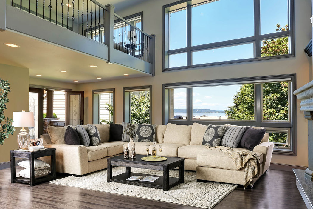 Cate Beige/Gray Transitional Wood Frame Sectional