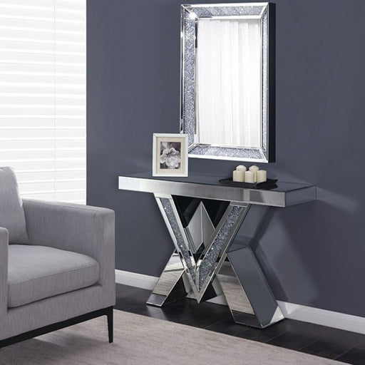 Chiara Acrylic Silver Contemporary Console Table