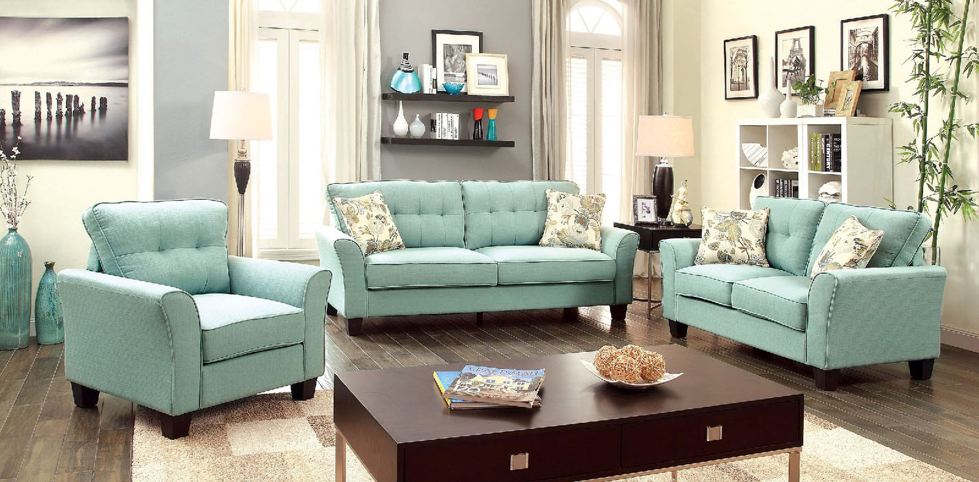 Claire Linen-Like Fabric Blue Transitional Sofa
