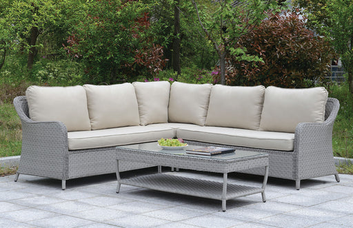Cogswell Contemporary Gray Patio Sectional With Coffee Table