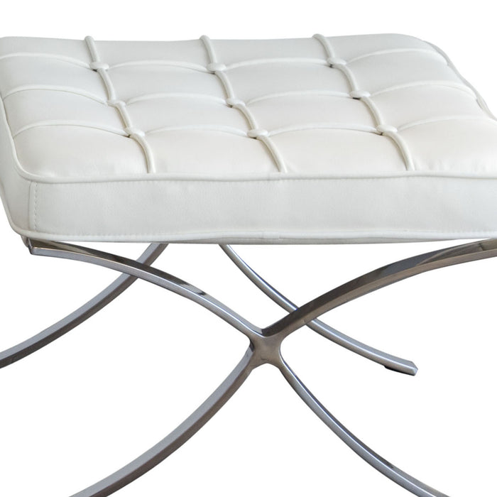 Cordoba Tufted Ottoman With Stainless Steel Frame