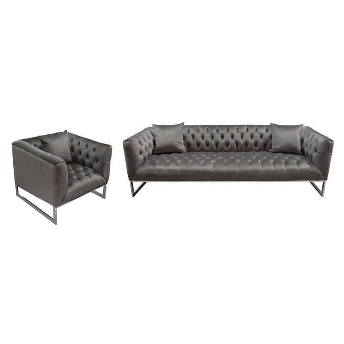 CRAWFORD TUFTED SOFA AND CHAIR 2PC SET IN DUSK GREY VELVET WITH POLISHED  METAL LEG AND TRIM