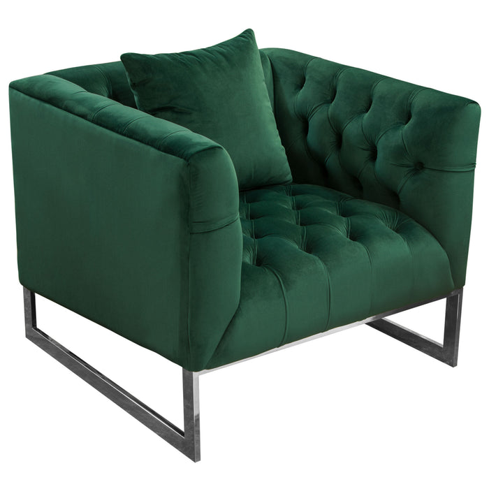 CRAWFORD TUFTED SOFA AND CHAIR 2PC SET IN EMERALD GREEN VELVET WITH  POLISHED METAL LEG AND TRIM