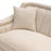 Croft Fabric Sofa In Sand Linen Fabric With Accent Pillows And Gold Metal Criss Cross Frame