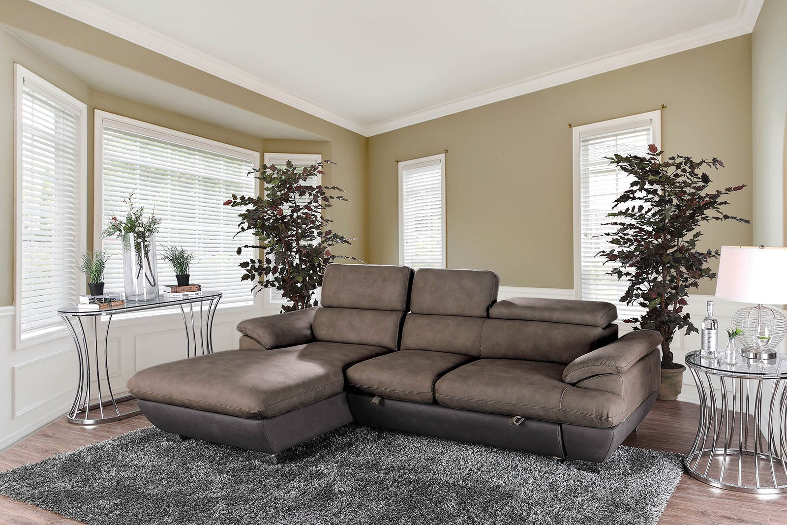 Dana Ash Brown Transitional Solid Wood Nabuk Fabric Sectional