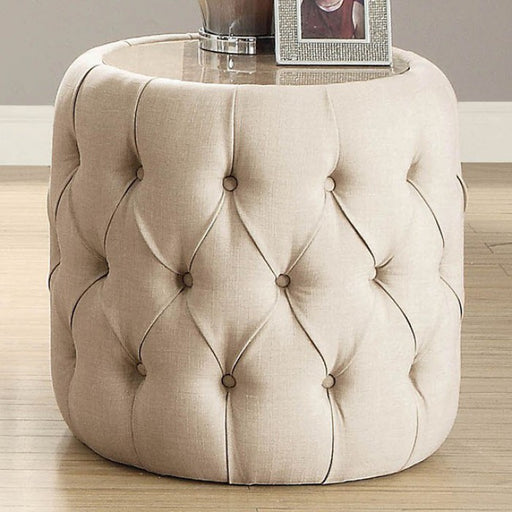 Deja Wood Beige Gray Transitional Round End Table