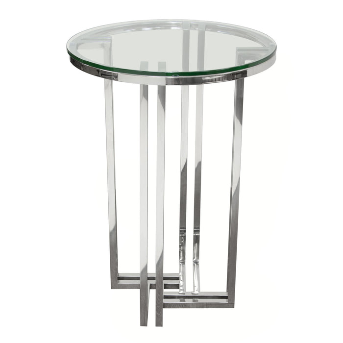 Deko Polished Stainless Steel Round Accent Table With Clear Tempered