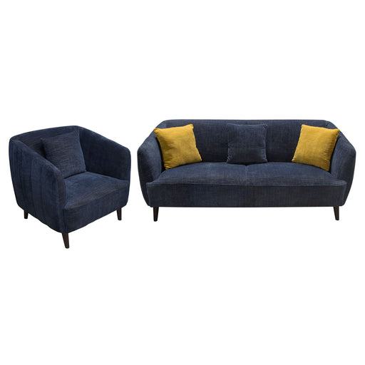 DeLuca Midnight Blue Fabric Sofa and Chair 2PC Set - Navy