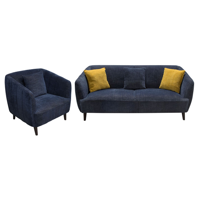DELUCA MIDNIGHT BLUE FABRIC SOFA AND CHAIR 2PC SET