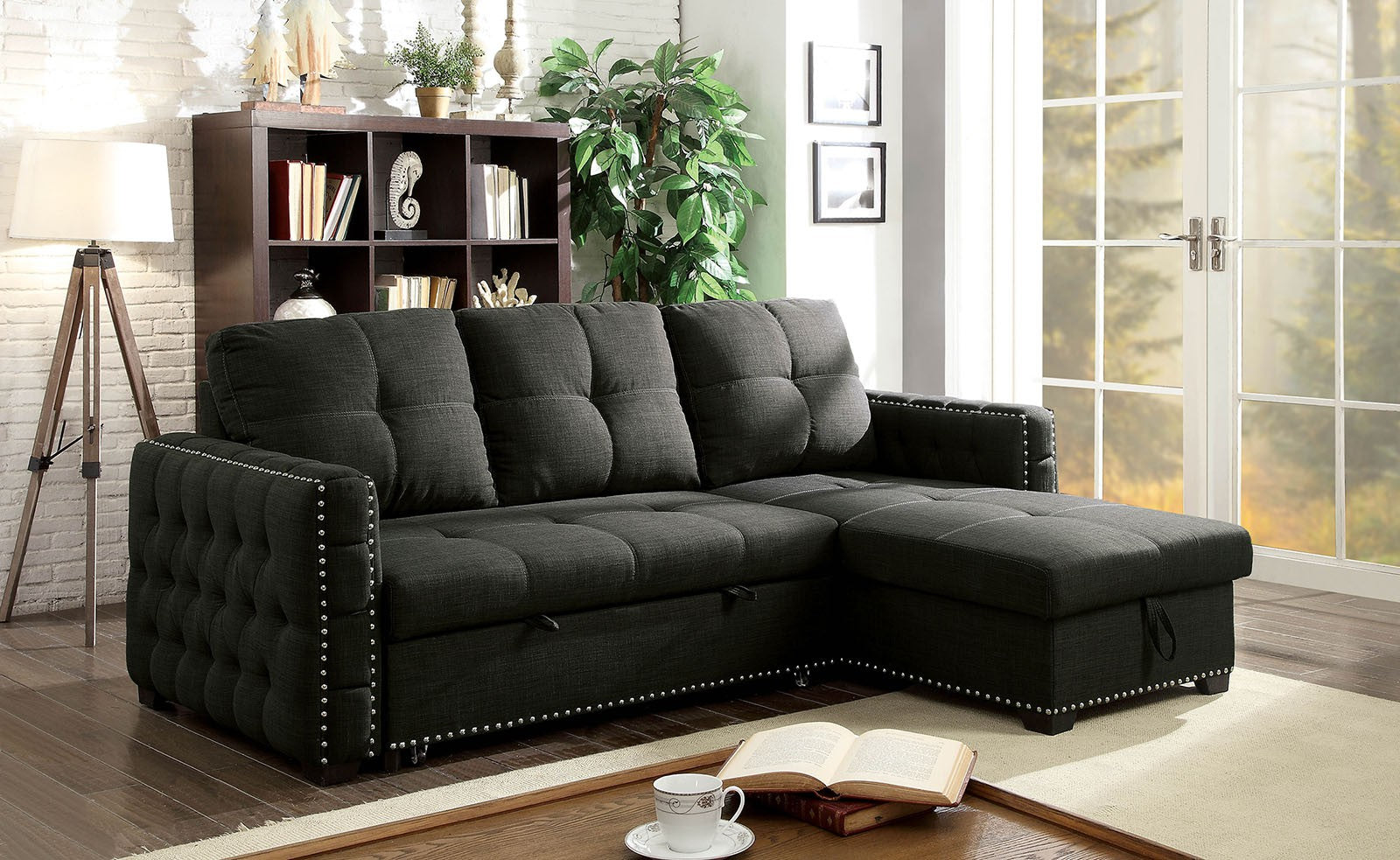 Demi Dark Gray Transitional Sleeper Sofa Sectional