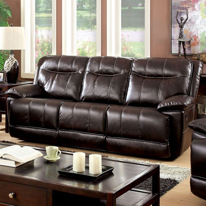 Dolton Breathable Leatherette Brown Transitional Sofa