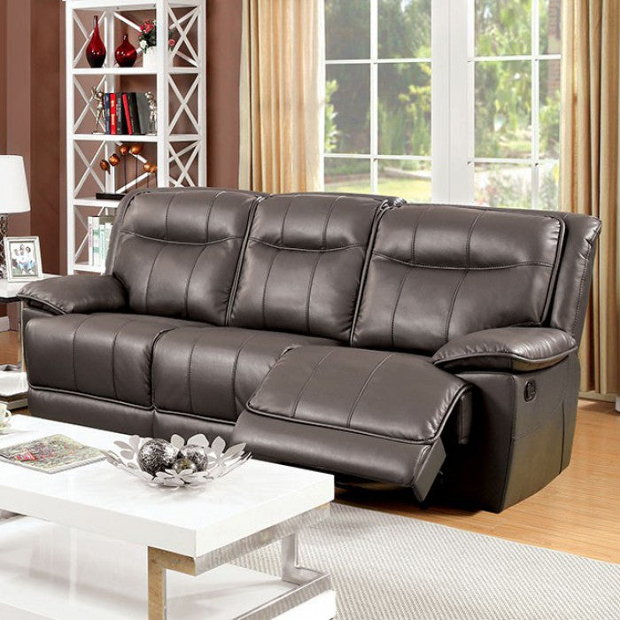 Dolton Breathable Leatherette Gray Transitional Sofa