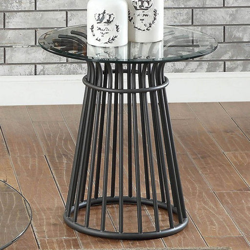 Dowdale Gun Metal Industrial End Table