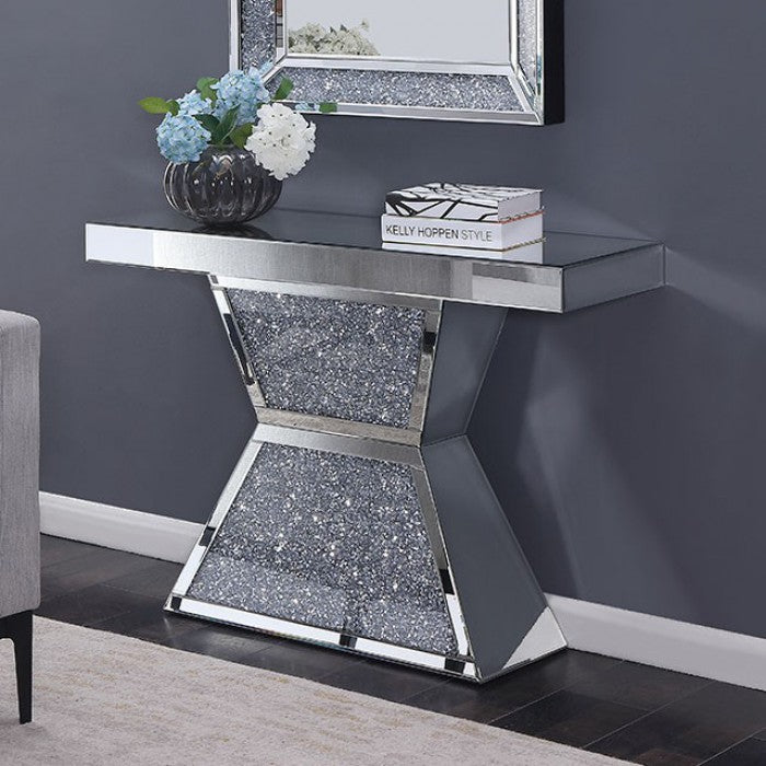 Dritan Acrylic Silver Contemporary Console Table