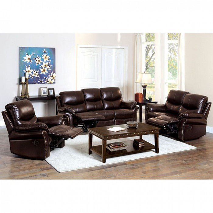 Dudhope Bonded Leather Match Dark Brown Transitional Sofa — Sofa Shack