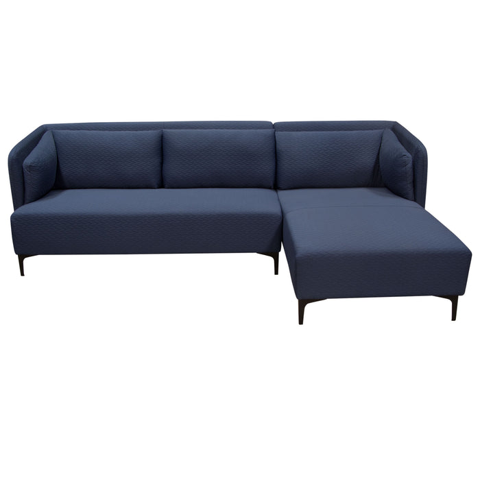 Dylan RF 2PC Sectional in Navy Blue Diamond Quilted Fabric - Navy