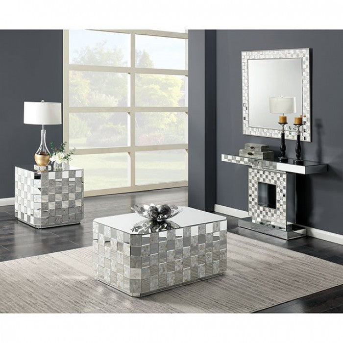 Elior Glass Silver Contemporary Console Table