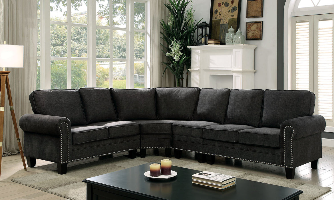Elwick Dark Gray Transitional Fabric Rolled Arms Sectional