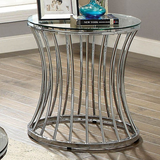 Esme Chrome Contemporary End Table