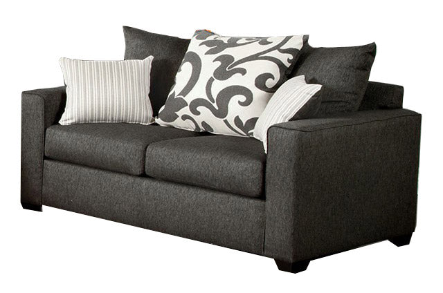 Fabric Loveseat Gray Transitional