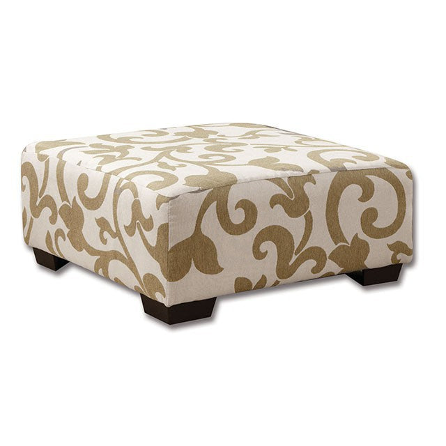 Fabric Ottoman Beige Transitional